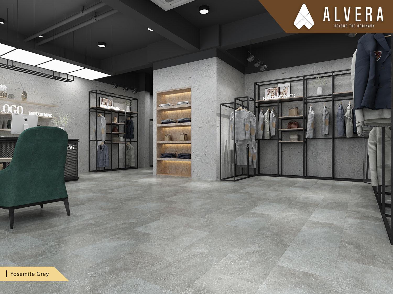 alvera yosemite grey lantai vinyl motif batu alam keramik pada toko retail