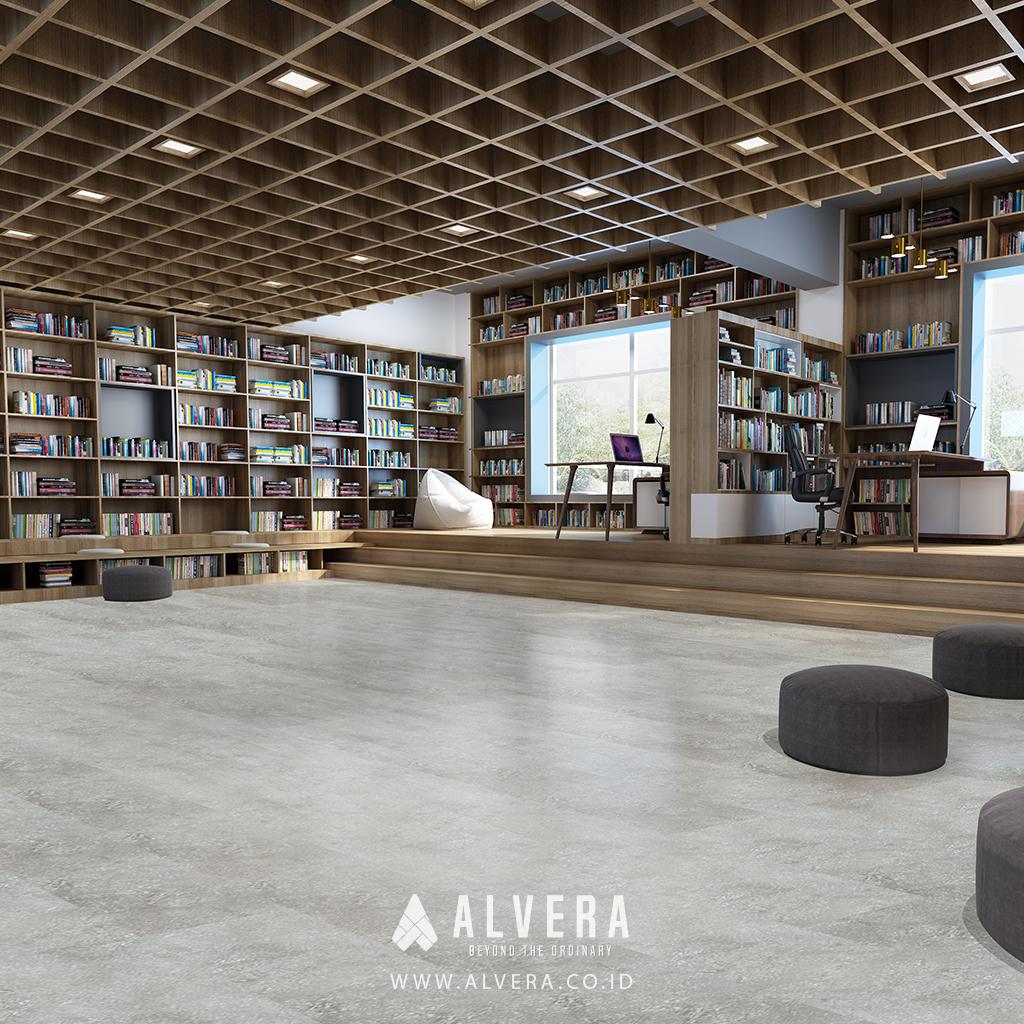 alvera yosemite grey lantai vinyl motif keramik abu-abu untuk perpustakaan