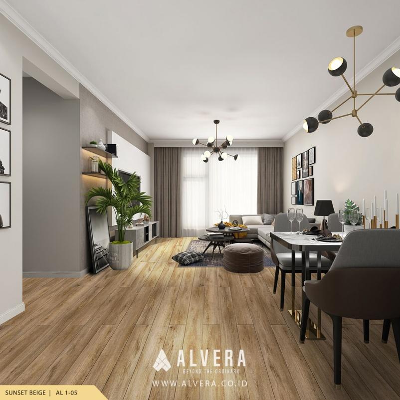 Lantai Kayu Vinyl Alvera Sunset Beige pada Ruang Keluarga