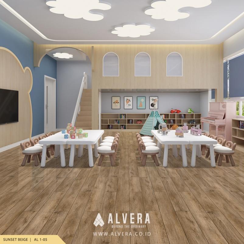 Lantai Vinyl Alvera Sunset Beige pada Ruang Bermain Anak