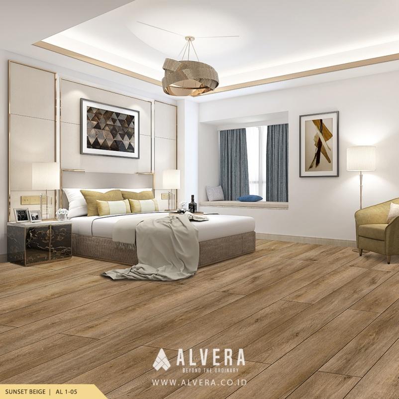 lantai vinyl motif kayu alvera sunset beige pada kamar tidur