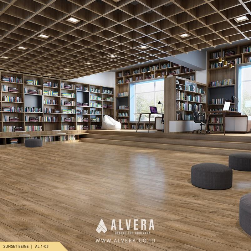 Lantai Vinyl Motif Kayu Alvera Sunset Beige pada Perpustakaan