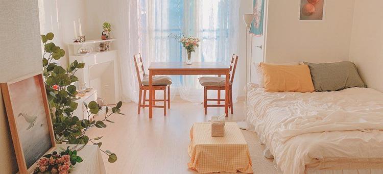 lantai vinyl motif kayu pada kamar tidur korea interior minimalis
