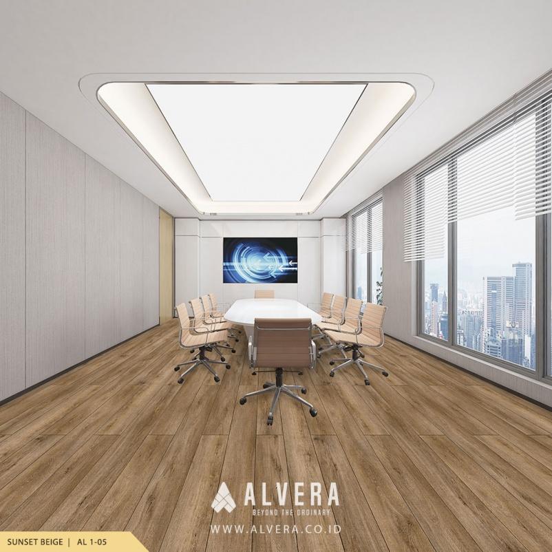 Lantai Vinyl Tempel Alvera Sunset Beige pada Ruang Meeting